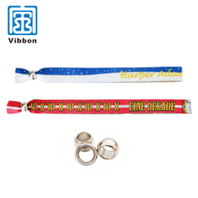 security woven fabric textile bracelet with plastic snap fasteners